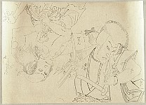 Kunichika Toyohara 1835-1900 - Preparatory Drawings of Two Actors