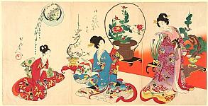 Chikanobu Toyohara 1838-1912 - Court Ladies in Tokugawa Era - Flower Arranging