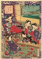 Chikanobu Toyohara 1838-1912 - Koto Player