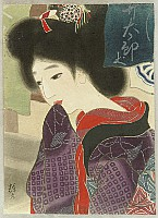 Terukata Gyokudo (Ikeda) 1883-1921 - Beauty at Shop Entrance