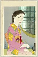 Chiyuki Onuma fl.ca. 1950s - Twelve Months of Japanese Women - March - Elegance, Tea Ceremony