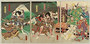 Kunisada Utagawa 1786-1865 - Soga Brothers and Mt. Fuji