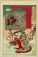 Shogetsu Kojima active 1880-1890 - Battle of Wada - Mother and Child