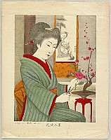 Unknown - Beauty and Flower Arranging - Meiji Lithograph
