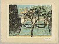 Koshiro Onchi 1891-1955 - Recollections of Tokyo - Tokyo Kaiko Zue - Nijubashi Bridge