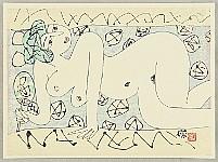 Shunichi Kadowaki 1913 - ? - Nude holding a round fan