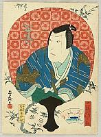 Yoshitaki Utagawa 1841-1899 - Kabuki Portrait in Round Fan - Mimasu Gennosuke