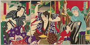 Chikanobu Toyohara 1838-1912 - Priest and Child -  Kabuki