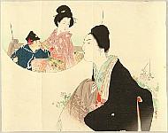 Hanko Kajita 1870-1917 - Woman in Black - Kuchi-e
