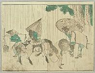 Hokusai Katsushika 1760-1849 - Hokusdai Soga - People and Horse in Rain