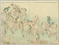Hokusai Katsushika 1760-1849 - Hokusai Soga - Water Buffaloes and Handlers