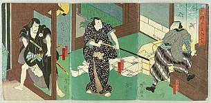 Yoshitaki Utagawa 1841-1899 - Three Samurai - Kabuki