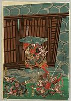 Yoshitora Utagawa active ca. 1836-1880 - Battle of Wada - Breaking the Castle Gate