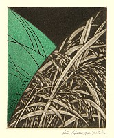 Katsunori Hamanishi born 1949 - Ex-Libris - Rice Stalks
