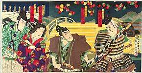 Chikanobu Toyohara 1838-1912 - Endo Musha and Kesa Gozen -  Kabuki