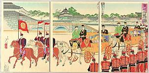 Nobukazu Watanabe 1874-1944 - Emperor and Empress Meiji in front of Nijubashi Bridge