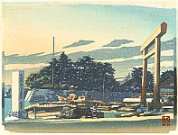 Tadahiro Hashiba 1894-1989 - The Land and Things in Kuwana - Kuwana Fubutsu Shi - Ferry and Shrine Gate at Shichiri