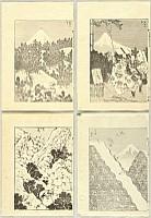 Hokusai Katsushika 1760-1849 - 100 View of Mt.Fuji - 4 Prints