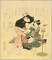 Hokkei Totoya 1780-1850 - Shamisen Player and Dancers