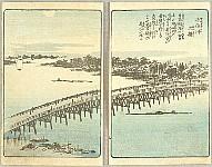 Hiroshige Ando 1797-1858 - Picture of Souvenirs from Edo - Ohashi Bridge over Senju River