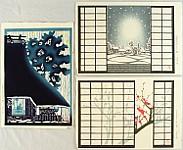 Kiyoshi Tanaka born 1947 - 3 Beautiful Aspects of Life - Plum, Rain, Snowy Night