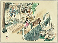 Sanzo Wada 1883-1968 - Fisherman's House - Sketches of Occupations in Showa Era