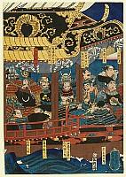 Yoshikazu Utagawa active ca.1850-70 - Samurais on Ship