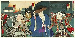 Hosai Baido 1848-1920 - Battle of Ueno - Kabuki