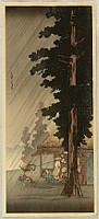 Hiroaki (Shotei) Takahashi 1871-1945 - Evening Shower at Takaido