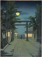Kiyochika Kobayashi 1847-1915 - Torii and Full Moon