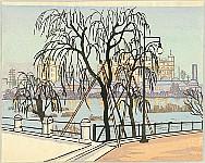 Kishio Koizumi 1893-1945 - Landscape at  Riverside