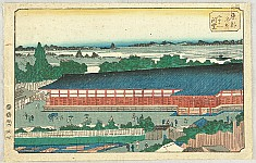 Hiroshige Ando 1797-1858 - Famous Places of the Eastern Capital - Toto Meisho - The Hall of the 33 Yards in Fukugawa