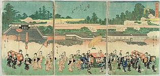 Hiroshige Ando 1797-1858 - Ladies Procession to Hachiman Shrine