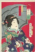 Kunichika Toyohara 1835-1900 - Six Selected Actors - Haiyu Rokkasen - Sawamura Tossho in Dragon Kimono