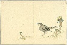 Gyokusho Kawabata 1842-1914 - Bush Warbler and Amur Adonises - Uguisu and Fukujuso