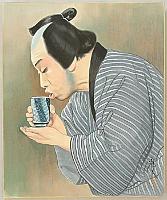 Hisashi Yamamoto 1910- ? - Kabuki - Nakamura Kanemon - Sip of Sake first, then ...