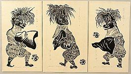 Gihachiro Okuyama 1907-1981 - Deer Dance in Sagae City Festival