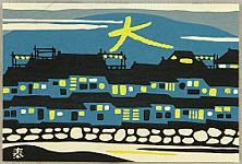 Taizo Minagawa 1917-2005 - One Hundred Views of Kyoto - Daimonji Bon Fire