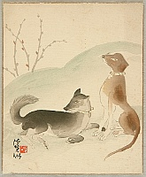 Keisen Tomita 1879-1936 - Dogs in the Early Spring