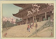 Hiroshi Yoshida 1876-1950 - Eight Scenes of Cherry Blossom - Chion-in Temple Gate