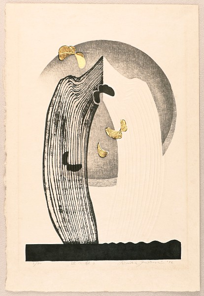 Woodblock print by Reika Iwami born 1927 Title: Scatter among the Waves.